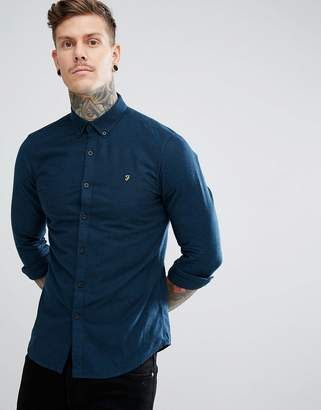Farah Steen Slim Fit Weft Shirt in Blue