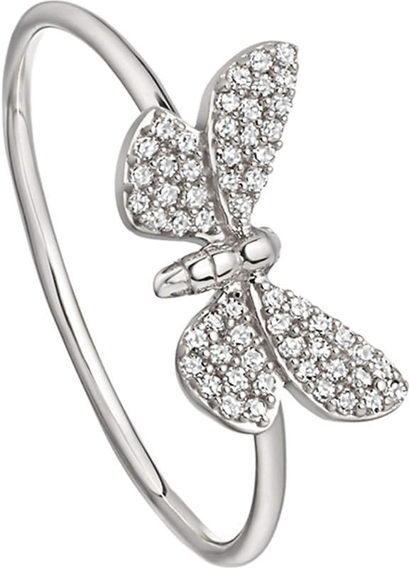 Cinnabar Papillon 14ct white-gold and diamond ring