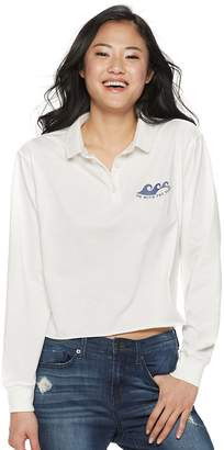 """Juniors' """"Go With The Flow"""" Cropped Polo Top"""