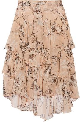 Jason Wu - Asymmetric Ruffled Floral-print Silk-georgette Midi Skirt - Peach $895 thestylecure.com