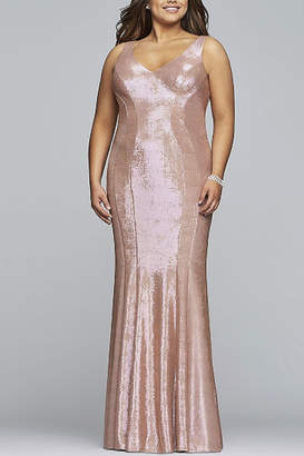 Faviana Long v-neck metallic jersey dress