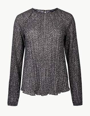 Marks and Spencer Floral Print Sheer Round Neck Blouse