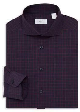 Trim-Fit Fancy Check Dress Shirt