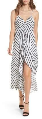 --- Stripe Gathered High/Low Dress