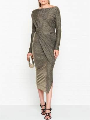 Vivienne Westwood Vian Glitter Jersey Drape Long Sleeve Dress -Gold