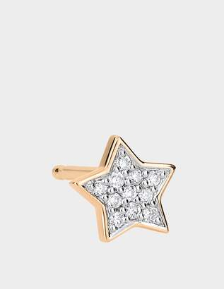 ginette_ny Single Tiny Diamond Star Stud Earring in 18K Rose Gold and Diamonds