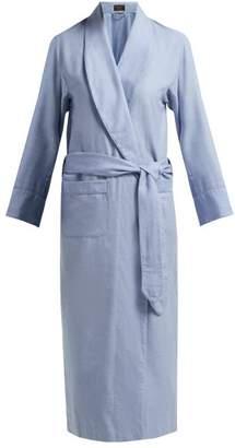 Emma Willis - Belted Cotton Blend Robe - Womens - Light Blue