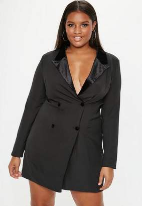 Missguided Plus Size Black Velvet Tux Dress