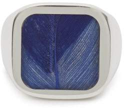 Maison Margiela Feather Plaque Silver Signet Ring - Mens - Silver