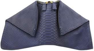 Autre Marque Navy Leather Clutch Bag