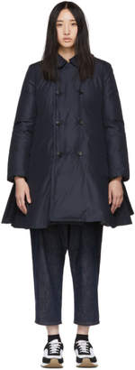 Comme des Garcons Navy Down Double-Breasted Coat