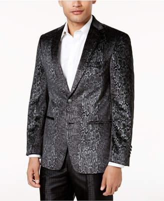Tallia Men's Slim-Fit Black Snakeskin-Print Velvet Dinner Jacket