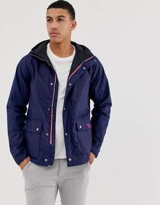 Barbour Beacon Pass wax jacket with hood in navy