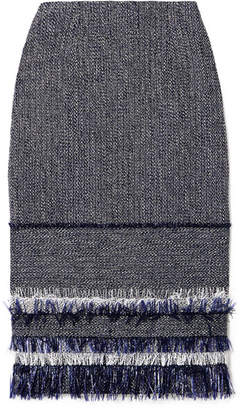 Roland Mouret Cotton-blend Bouclé-tweed And Crepe Skirt - Midnight blue