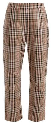 Isa Arfen High Rise Straight Leg Checked Cotton Trousers - Womens - Beige Multi
