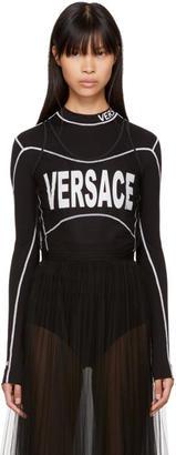 Versace Black Cropped Tulle Logo T-Shirt