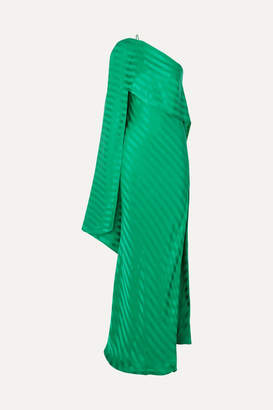 Mason by Michelle Mason One-shoulder Cape-effect Striped Silk-satin Jacquard Gown - Green