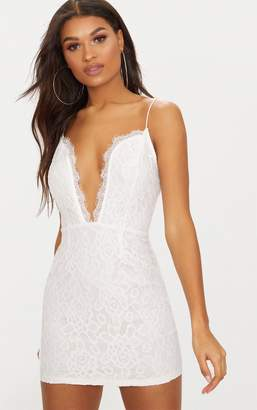 PrettyLittleThing White Strappy Plunge Lace Bodycon Dress