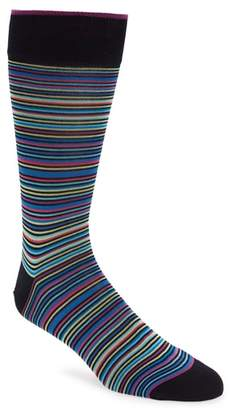 Bugatchi Stripe Mercerized Cotton Blend Socks