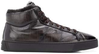 Santoni crocodile effect hi-top sneakers