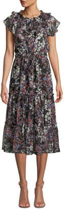 MISA Los Angeles Lydia Floral-Print Ruffle Tiered Midi Dress