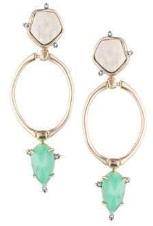 Alexis Bittar Elements Swarvoski Crystal, White Druzy& Chrysoprase Drop Post Earrings
