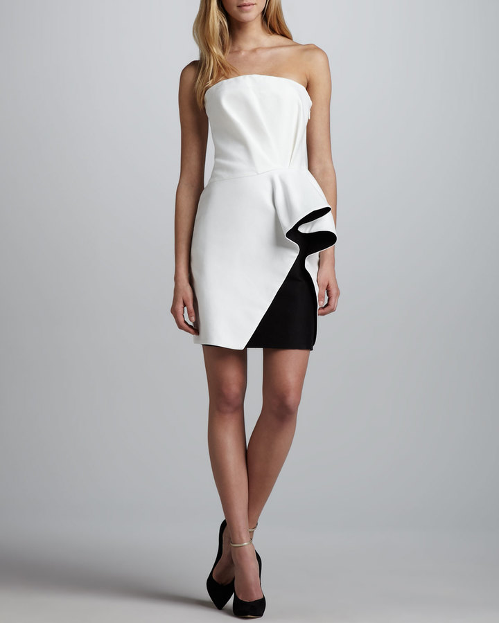 Halston Colorblock-Ruffle Strapless Dress