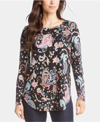 Karen Kane Printed Shirttail-Hem Top