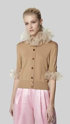 Marc Jacobs Elbow-Sleeve Ruffle Wool Cardigan