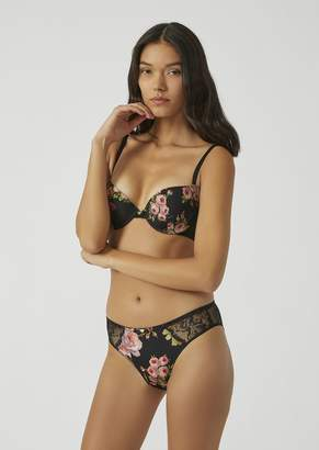 Emporio Armani Floral Pattern Briefs With Lace Inserts