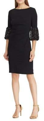 Lauren Ralph Lauren Lace-Trim Ruched Jewelry Sheath Dress