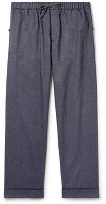 Desmond & Dempsey - Brushed Cotton-Twill Pyjama Trousers - Men - Blue