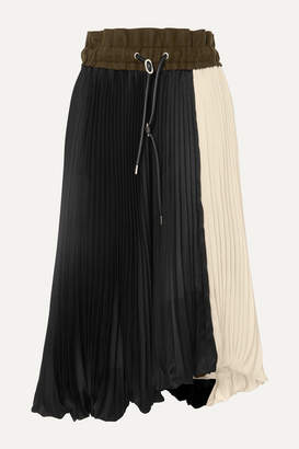 Sacai Wool Felt-trimmed Pleated Two-tone Satin Midi Skirt - Black
