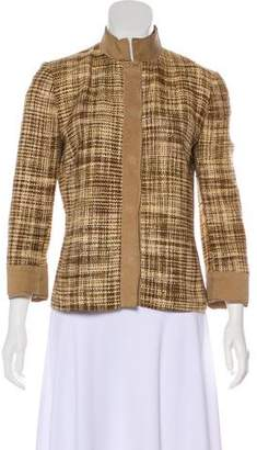 Dolce & Gabbana Tweed & Leather Trim Jacket