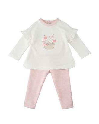 Mayoral Long-Sleeve Flower Applique Top w/ Matching Leggings, Size 6-12 Months
