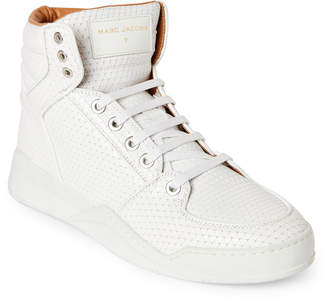 Marc Jacobs White Laser-Cut Leather Sneakers