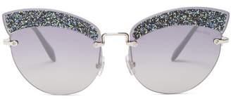 Miu Miu Glitter Embellished Cat Eye Sunglasses - Womens - Grey Multi