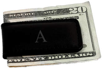 Bey-Berk Monogrammed Leather Magnetic Money Clip
