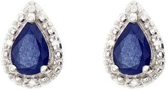 Sterling Pear-Shaped Fancy Stud Earrings w/ Diamond Accent