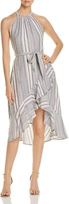 T Tahari Vitala Striped Ruffle Dress