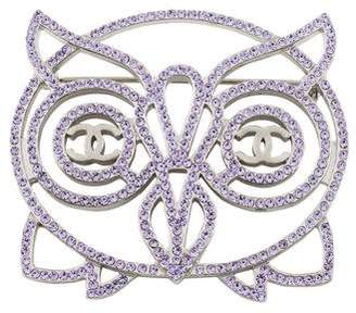 Chanel CC Crystal Owl Brooch