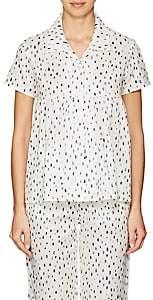 Castle & Hammock Women's Dot-Print Cotton Short-Sleeve Top-White & Blue Dot