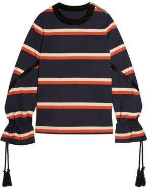 Sacai (サカイ) - Sacai Rope-Detailed Striped Cotton-Jersey Sweatshirt