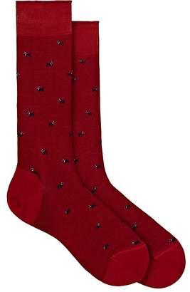 Barneys New York Men's Dog-Print Cotton-Blend Mid-Calf Socks