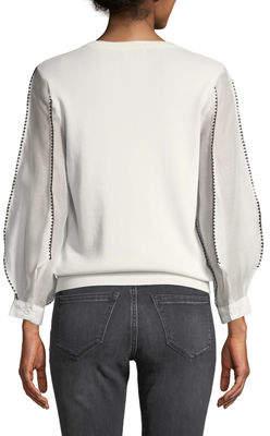 Nicole Miller New York Sheer-Sleeve Crochet Trim Sweater