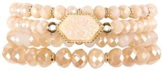 Riah Fashion Druzy-Glass-Beads Bracelet-Set