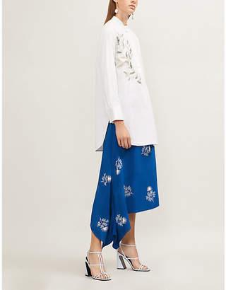Oscar de la Renta Leaf sequin-embellished stretch-cotton shirt