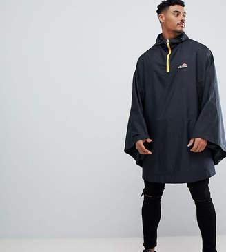 Ellesse 1/4 Zip Poncho With Large Back Logo In Black