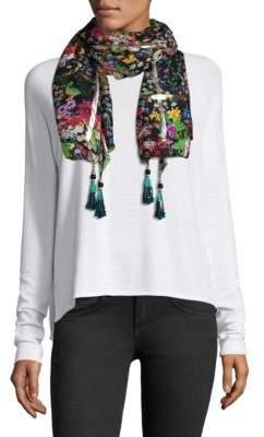 Etro Silk & Lurex Floral Beaded Scarf