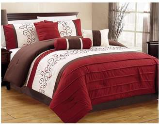 Hgmart 7-Piece Embroidered Comforter Set Luxury Bedding Collection Microfiber Quilt Set, Cal King, Burgundy/Coffee